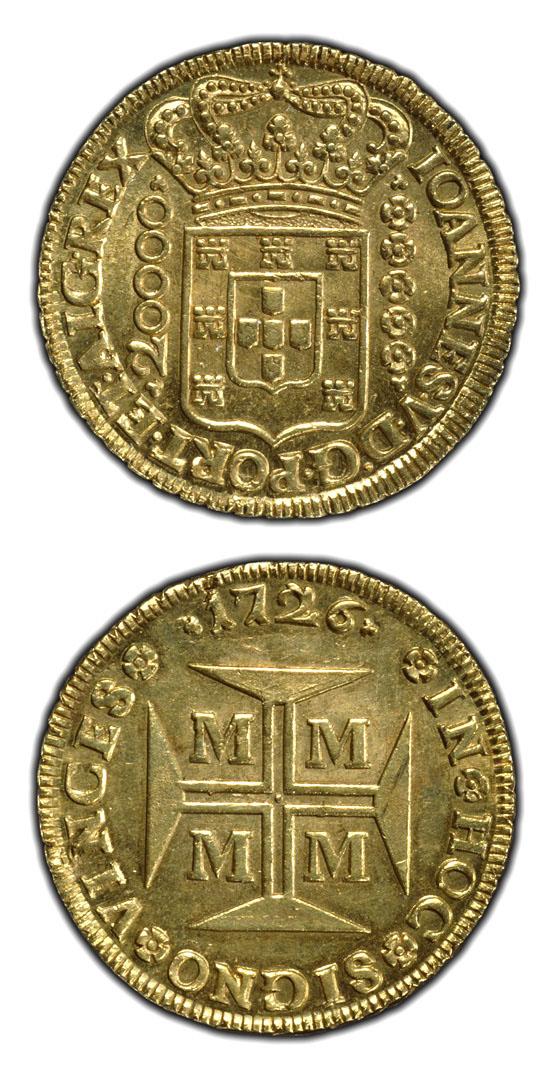 Goldstück Im Werte Von 20000 Reis Prägung Vom Absolutistischen